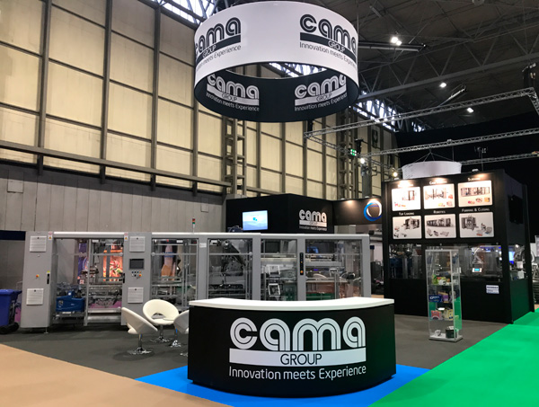 PPMA 2017 in Birmingham, Cama new BTG Sleeving system on stand